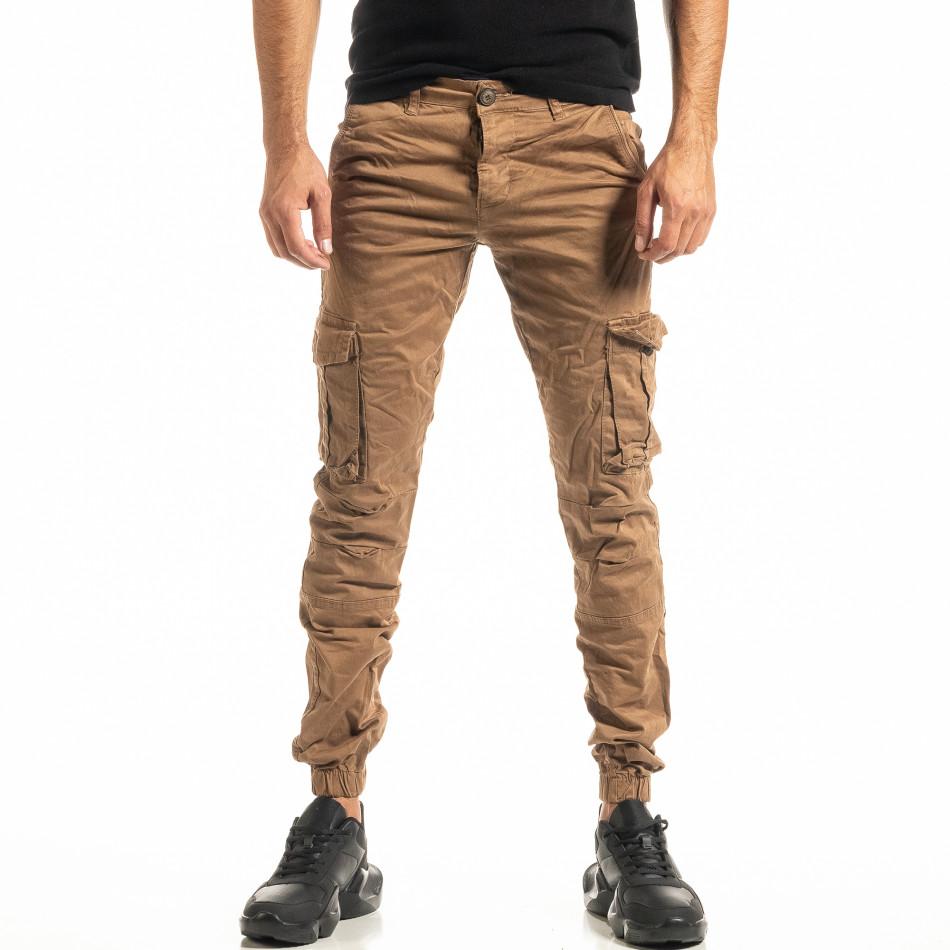 Мъжки камел карго панталон с ластик на крачолите tr300920-5