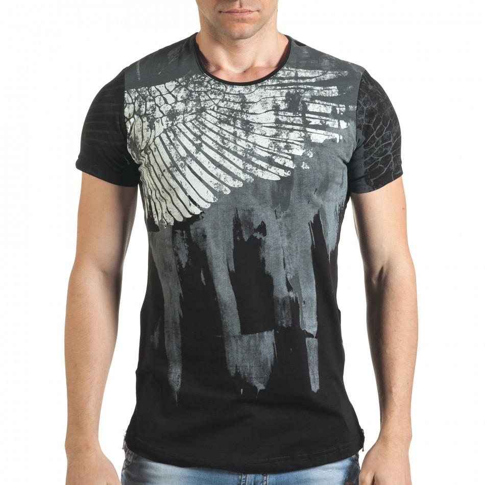 Мъжка черна тениска с як принт и странични ципове tsf140416-5