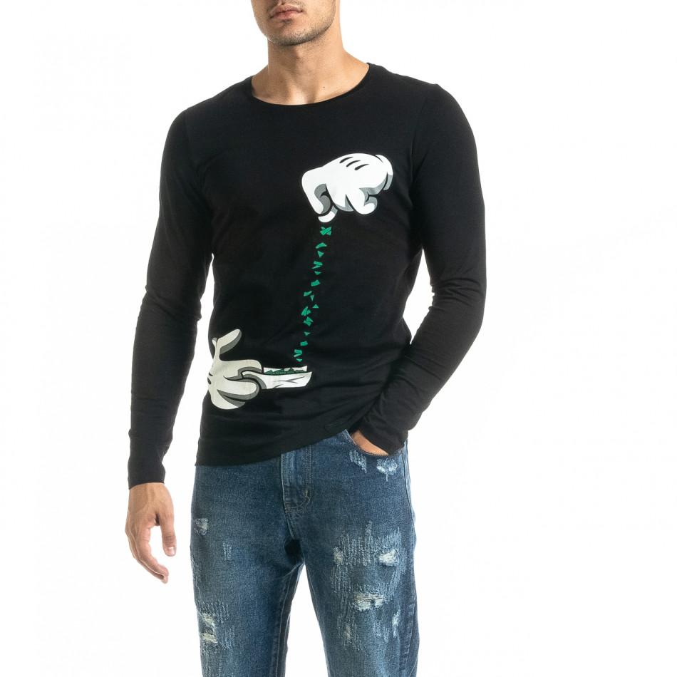 Мъжка черна блуза  Mickey Gloves tr020920-51