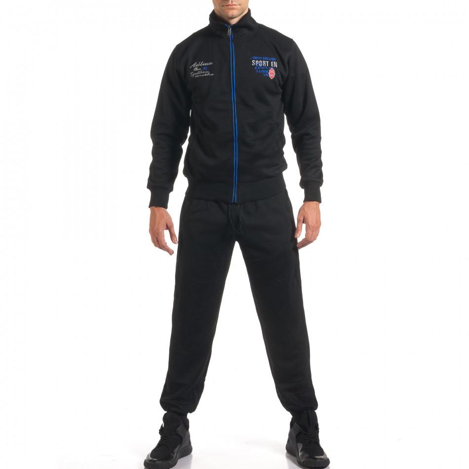 Мъжки черен спортен комплект с надписи it160916-73