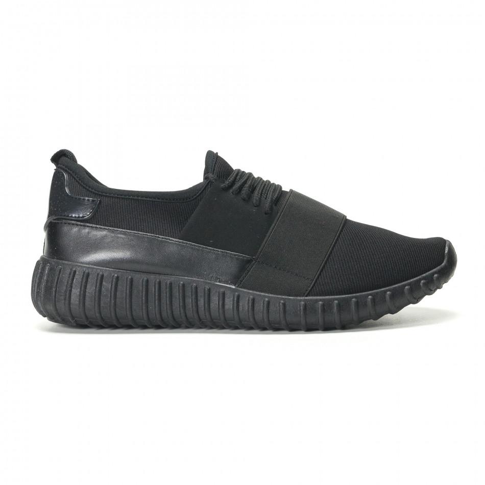 Мъжки черни текстилни маратонки с нисък профил it140916-1
