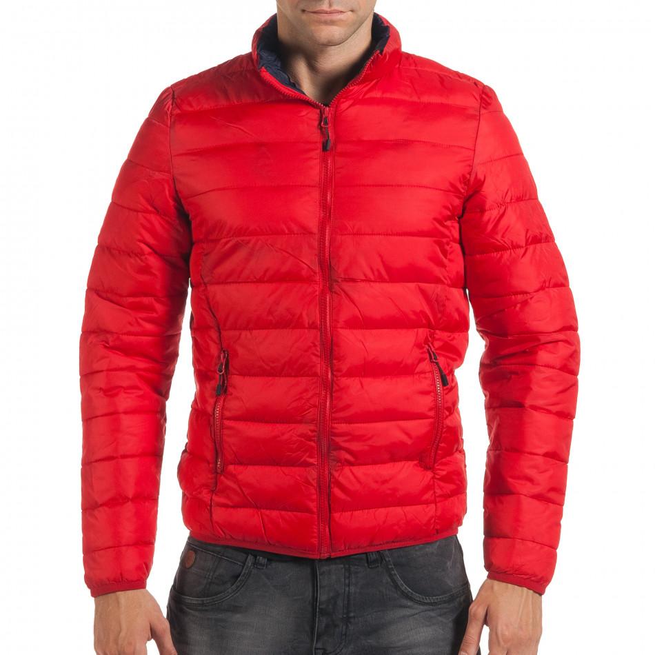 Мъжко червено пролетно-есенно яке със синя подплата it190616-19
