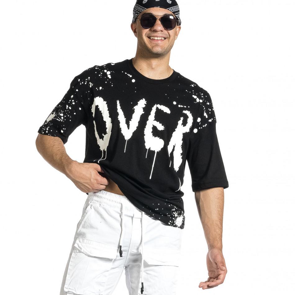 Мъжка черна тениска с принт Oversize tr150521-10