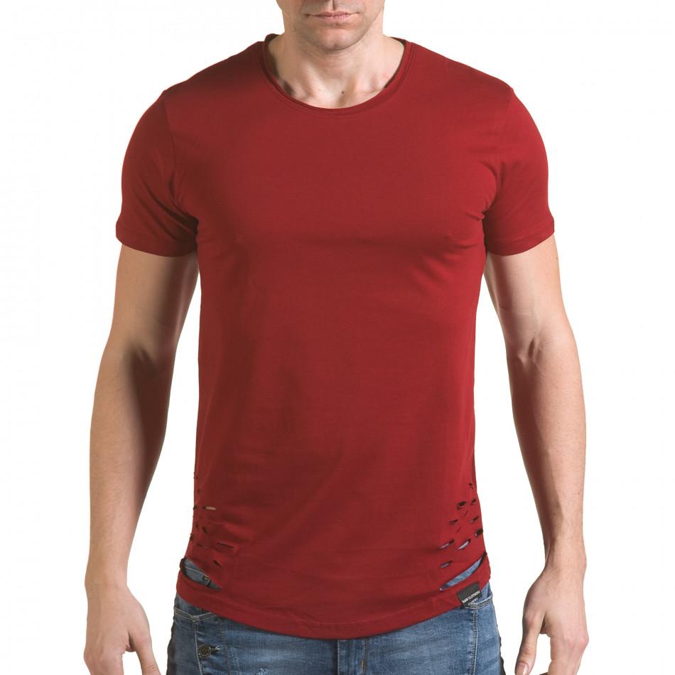 Мъжка червена тениска с декоративни скъсвания il170216-61