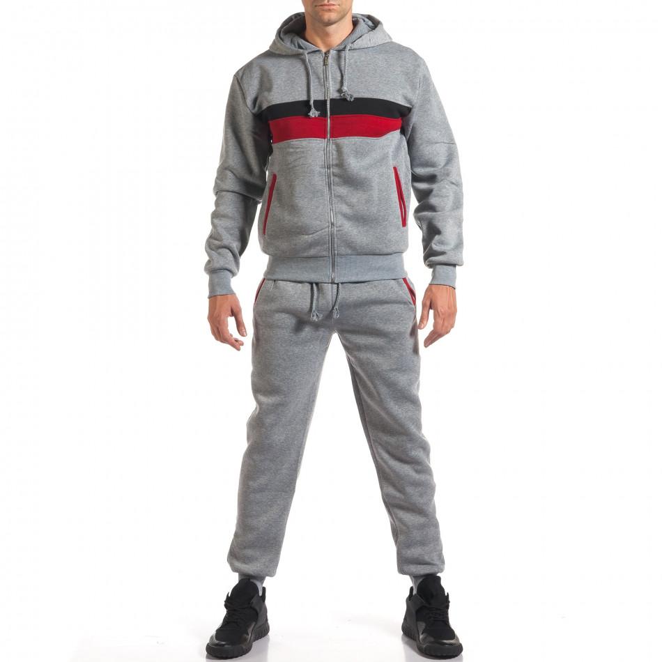 Мъжки сив спортен комплект с червена и черна лента it160916-66