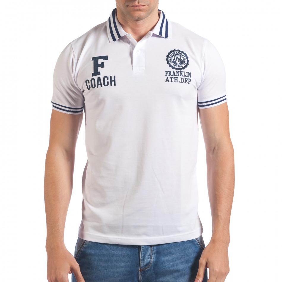 Мъжка бяла тениска с яка F Coach il060616-107