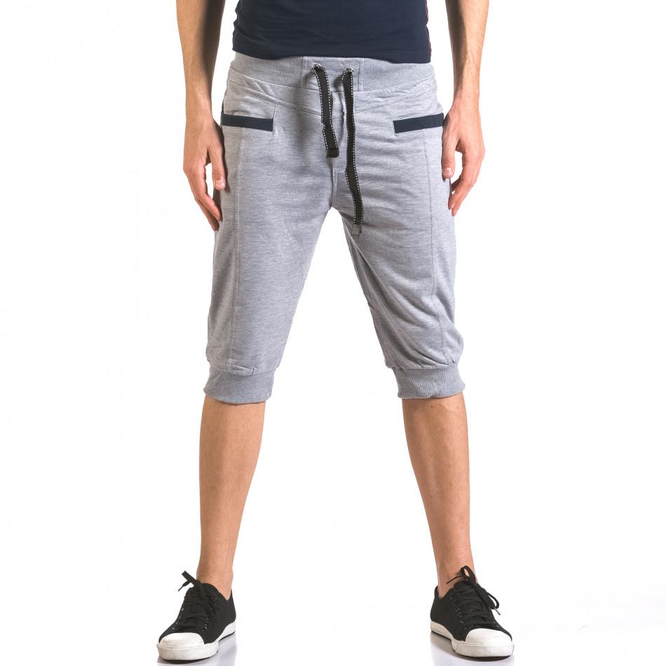 Мъжки сиви къси потури с контрастни джобове ca050416-34