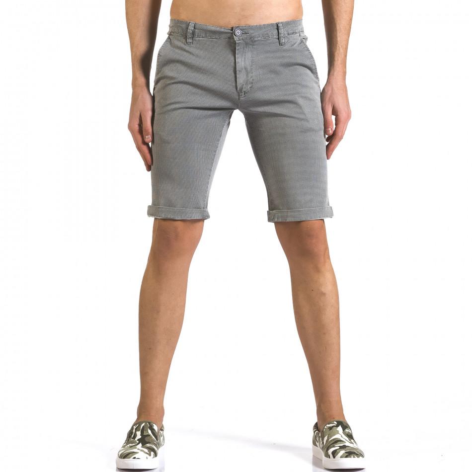 Мъжки сиви къси панталони с фин принт по плата it110316-50