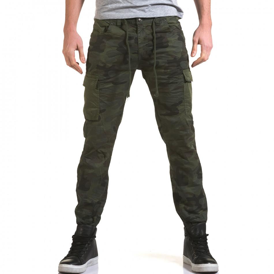 Мъжки панталон тъмно зелен камуфлаж it090216-11