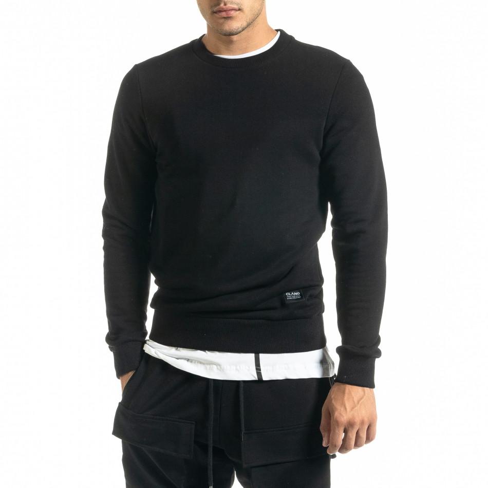 Basic мъжка памучна блуза в черно tr020920-45