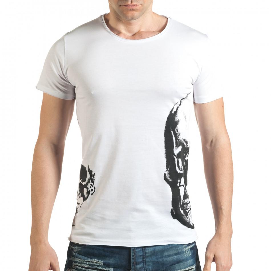 Мъжка бяла тениска с 2 черепа il140416-11