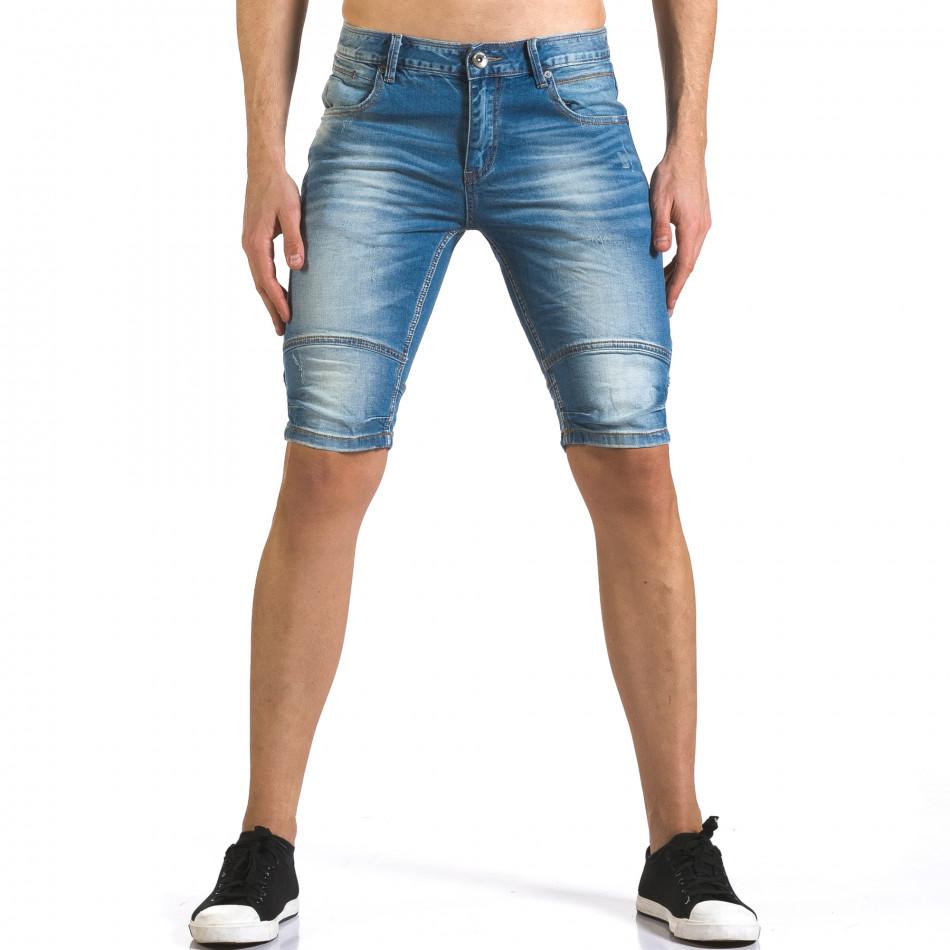 Мъжки светло сини къси дънки с допълнителни шевове it110316-62