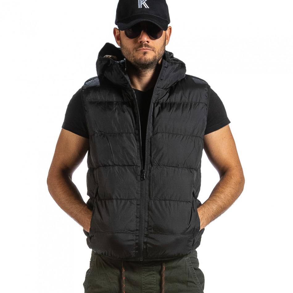 Мъжка двулицева грейка цвят черен & камуфлаж gr070921-31