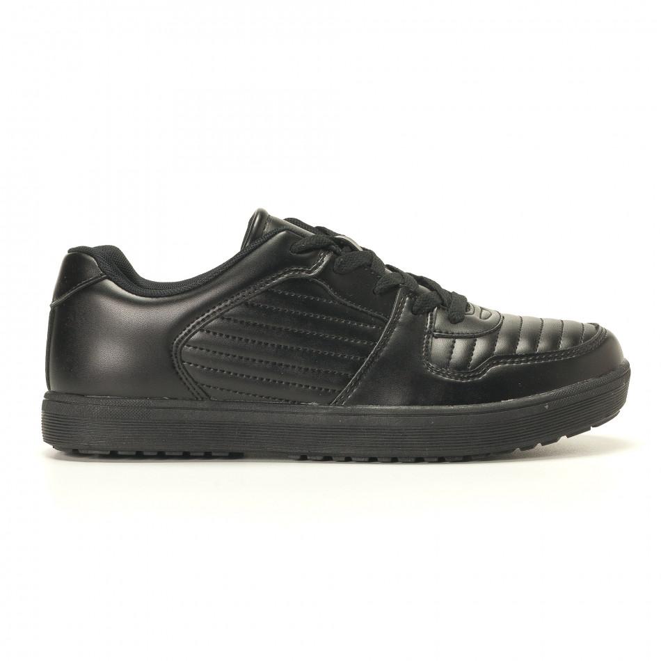 Мъжки черни кецове с допълнителни шевове it020617-7