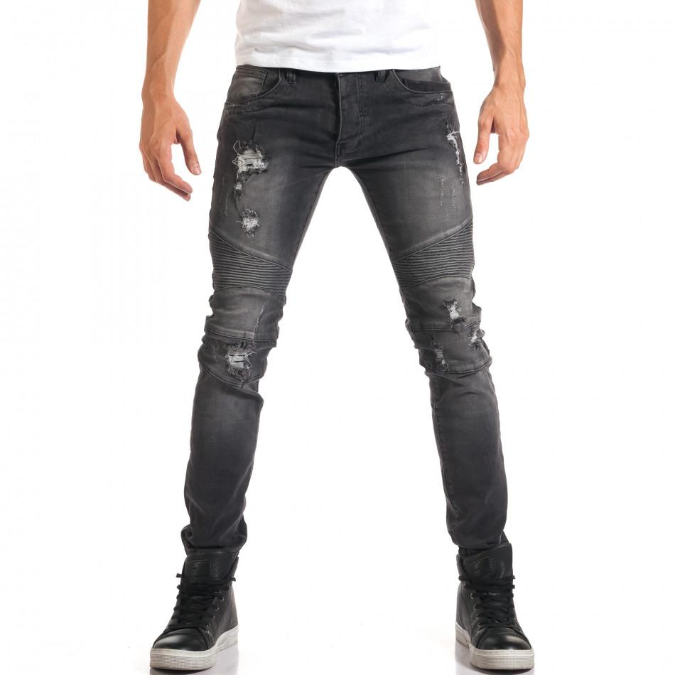Мъжки сиви дънки с хоризонтални шевове it160916-16