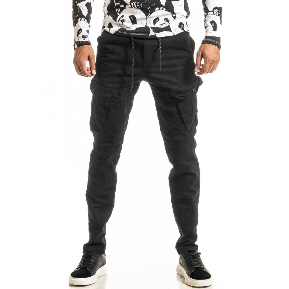 Мъжки черен Cargo панталон с прави крачоли tr300920-6