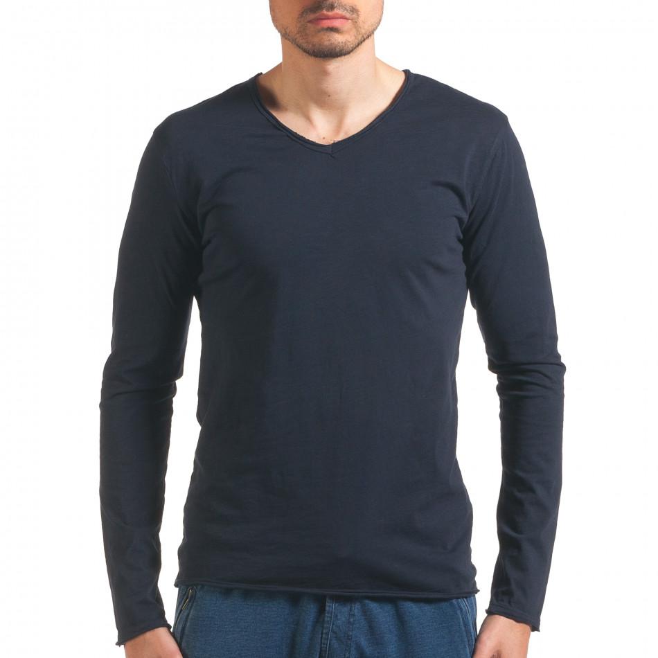 Мъжка синя блуза с дълъг ръкав it260416-52