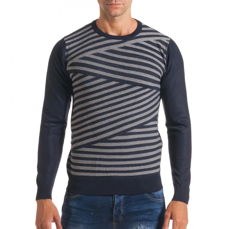 Мъжки син пуловер на светло сиви райета it170816-16