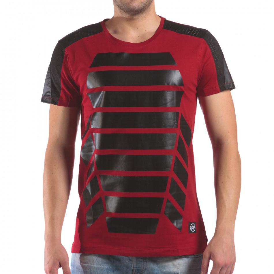 Мъжка червена тениска с геометричен принт il210616-20