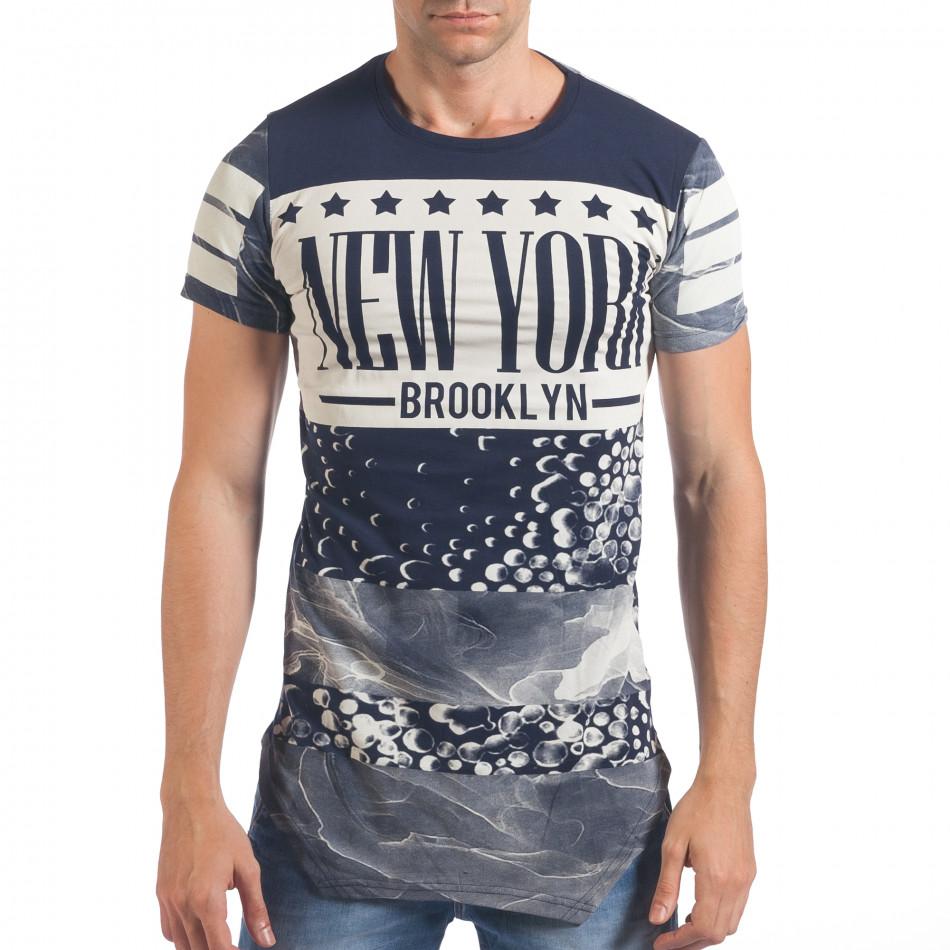 Мъжка синя тениска удължена с надпис New York il060616-1
