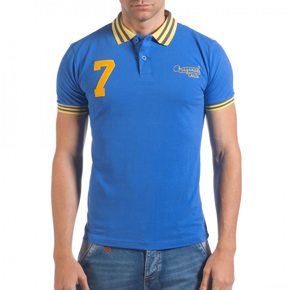 Мъжка синя тениска с яка с жълт номер 7 il060616-98