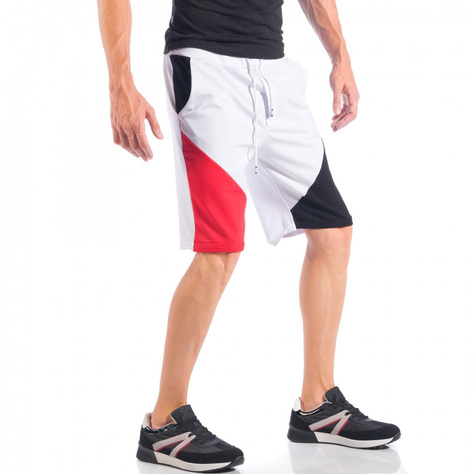 Бели мъжки шорти с червени и черни части it050618-41