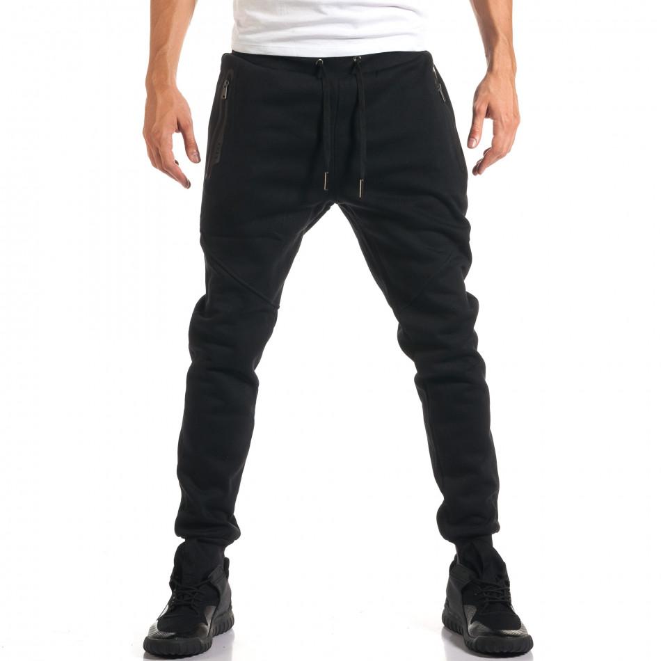Мъжко черно долнище с ципове на джобовете it160916-26