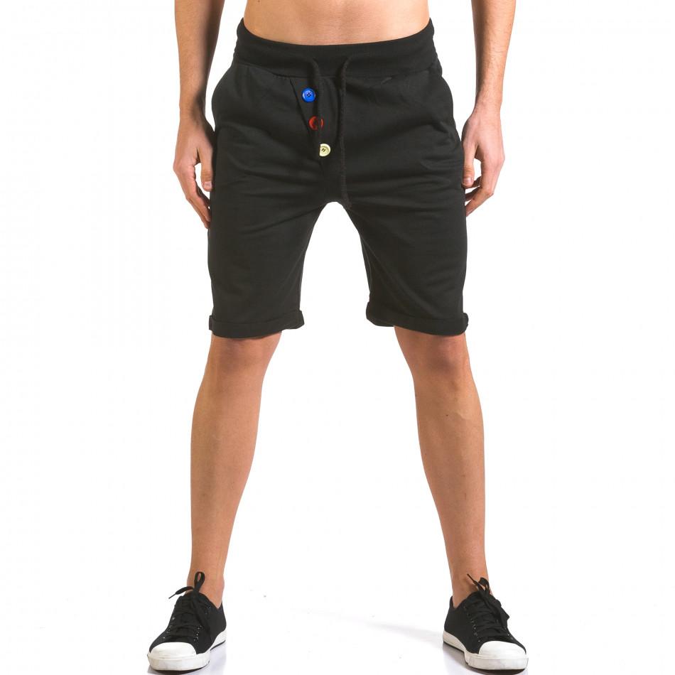 Мъжки черни шорти с разноцветни копчета it160316-27