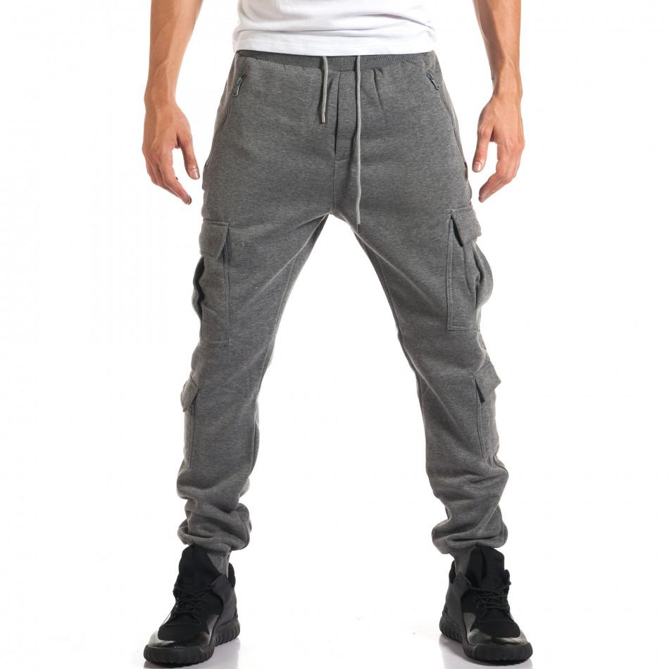 Мъжки сиви потури с джобове на крачолите it160916-25