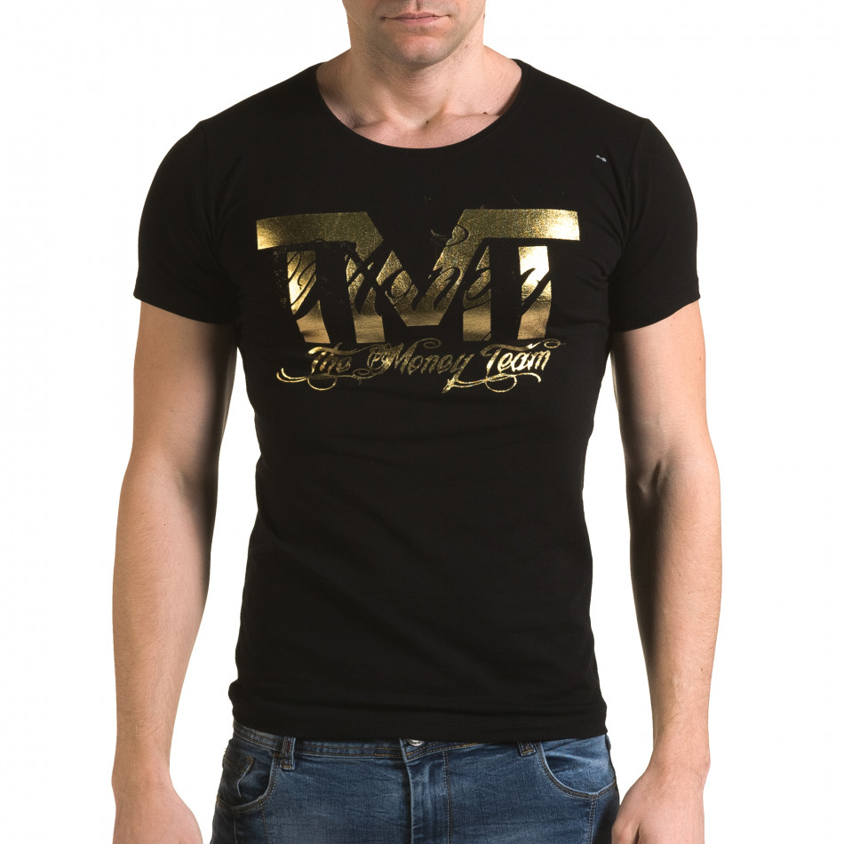 Мъжка черна тениска със златист надпис il120216-61