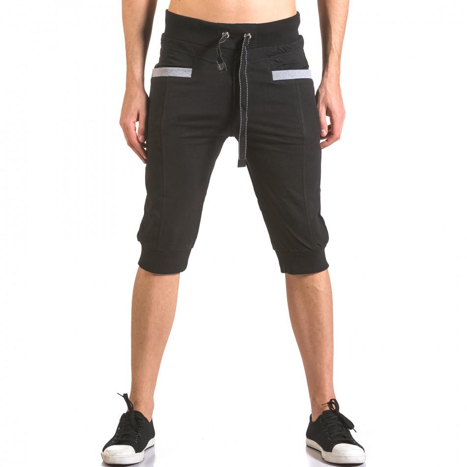 Мъжки черни къси потури с контрастни джобове ca050416-35