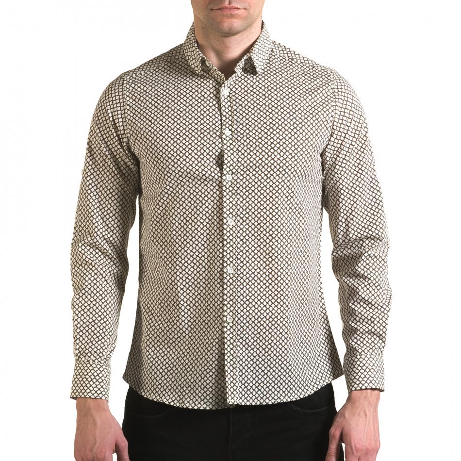 Мъжка бяла риза с кафява фигурална шарка il170216-101