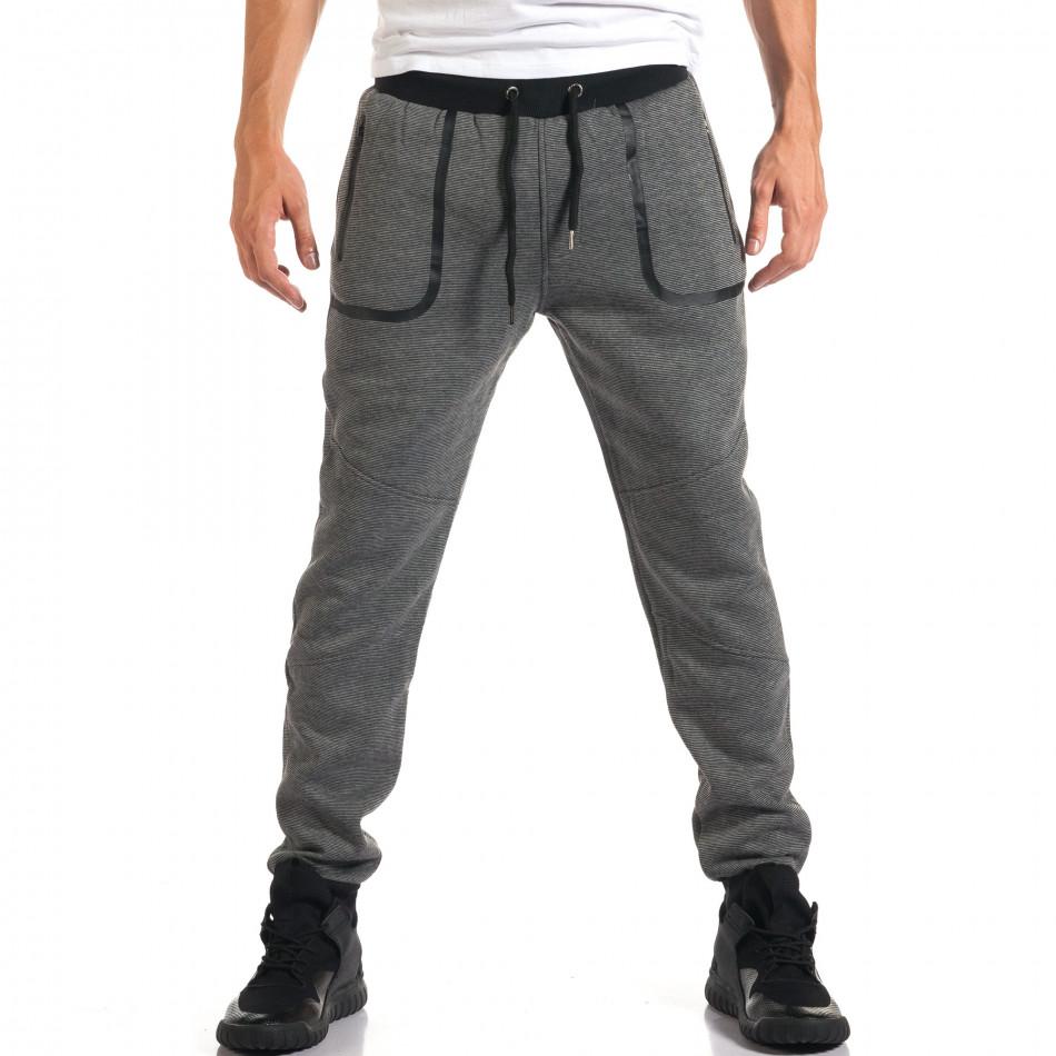 Мъжко светло сиво долнище с черен контур на джобвете it160916-35
