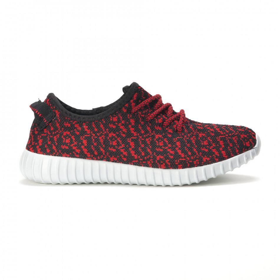 Мъжки черни маратонки с червен принт олекотени it090616-23