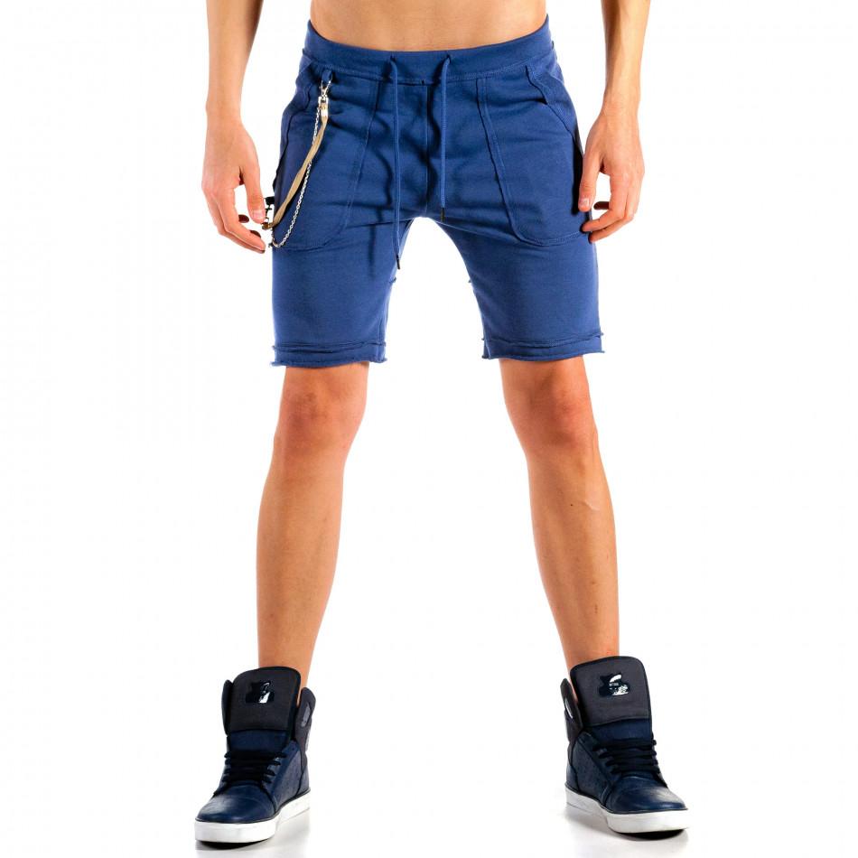 Мъжки сини шорти с ланец на джоба it240415-33