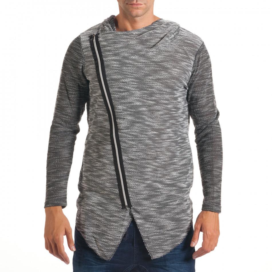 Мъжки светло сив суичър с асиметрична кройка it240816-1