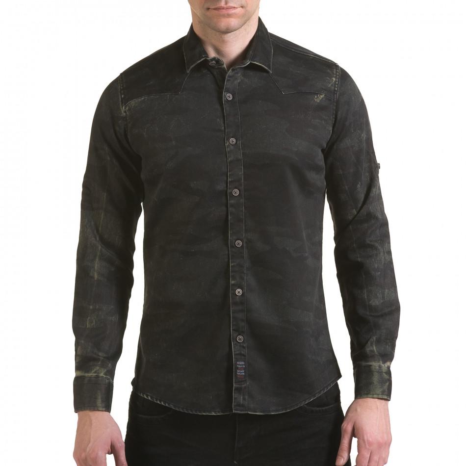 Мъжка риза тъмно сив камуфлаж il170216-128