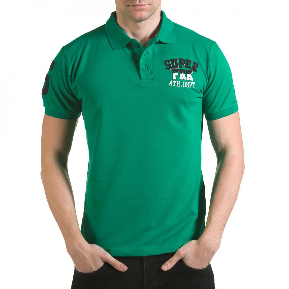 Мъжка зелена тениска с яка с релефен надпис Super FRK il170216-26