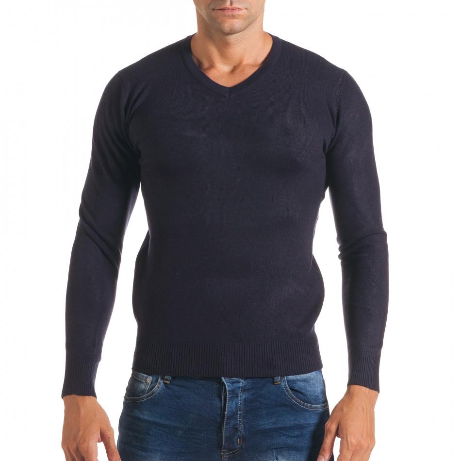 Мъжки син изчистен пуловер с остро деколте it170816-47