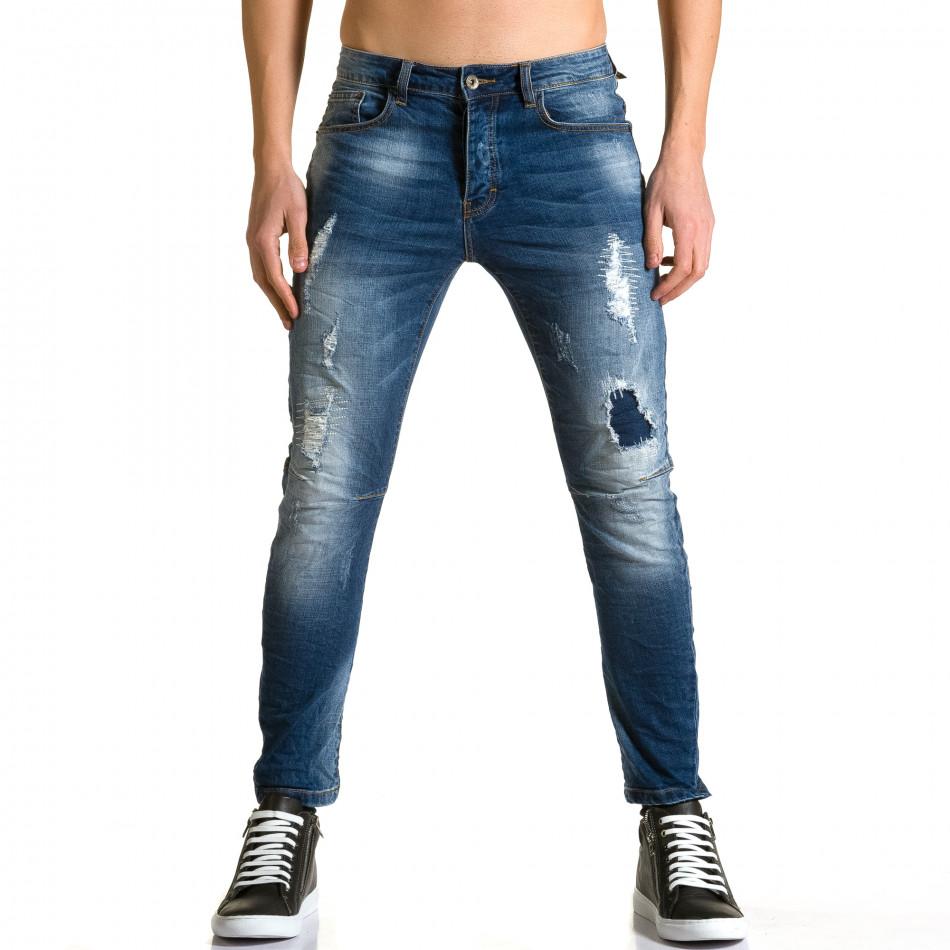 Мъжки дънки слим с декоративна тъмно синя кръпка ca190116-3