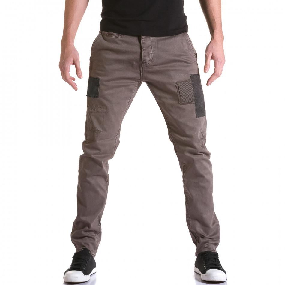 Мъжки кафяв панталон с декоративни кръпки it031215-18
