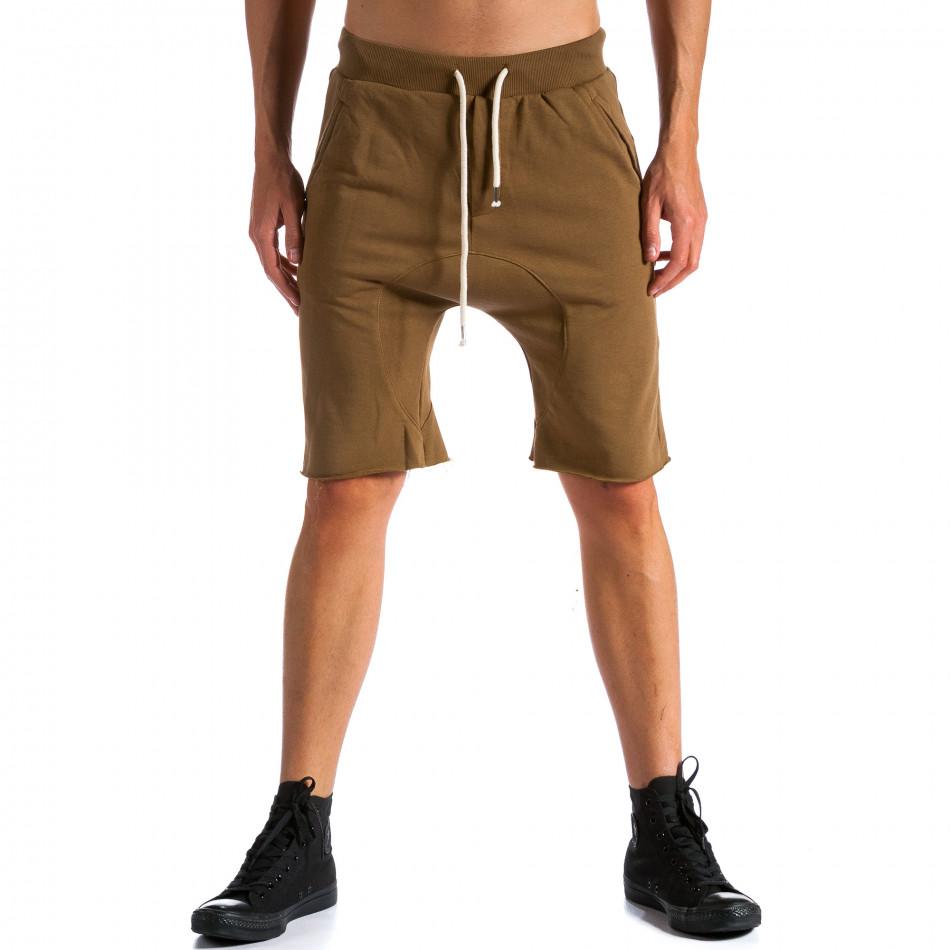 Мъжки кафяви къси шорти с бежова връзка tsf120514-17