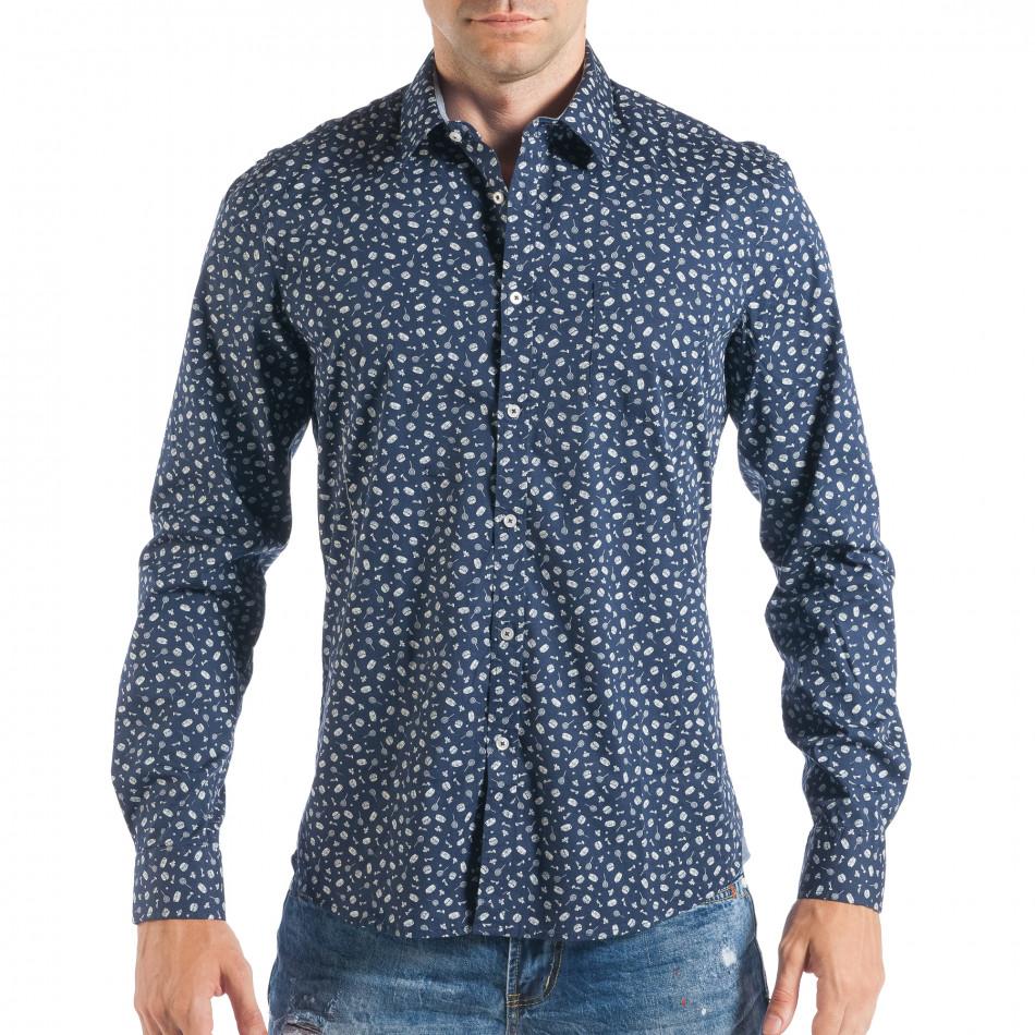 Мъжка тъмносиня риза с дребен Toys десен  it050618-11