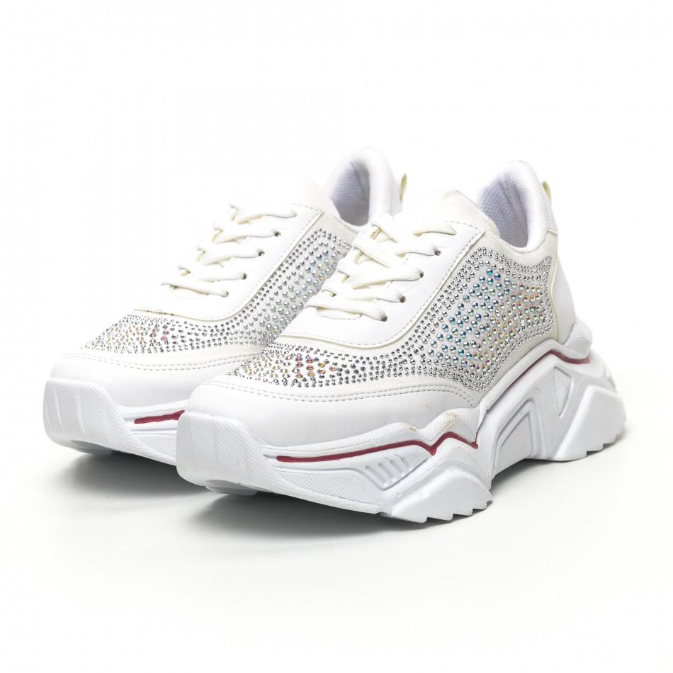 Дамски бели маратонки с камъчета tr180320-16
