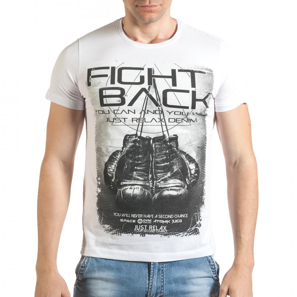 Мъжка бяла тениска с надпис il140416-26