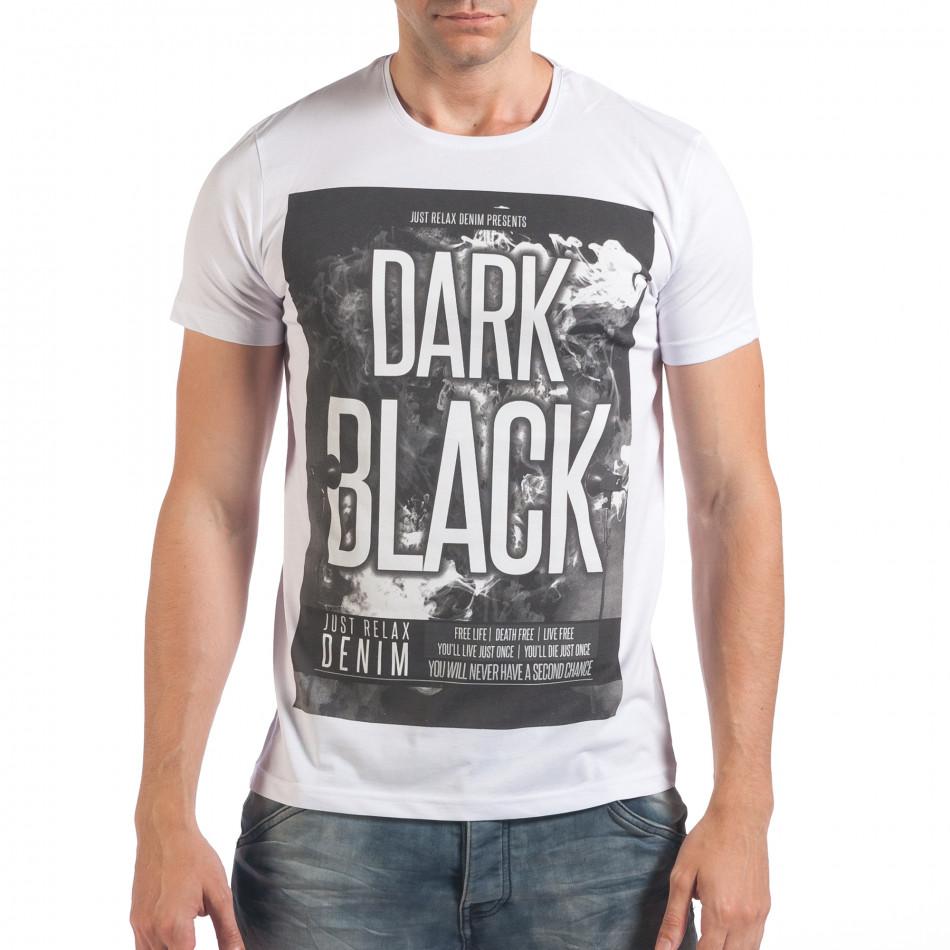 Мъжка бяла тениска с надпис Dark Black il060616-5