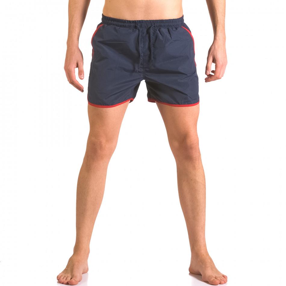 Мъжки тъмно сини бански шорти с удобни джобове ca050416-13