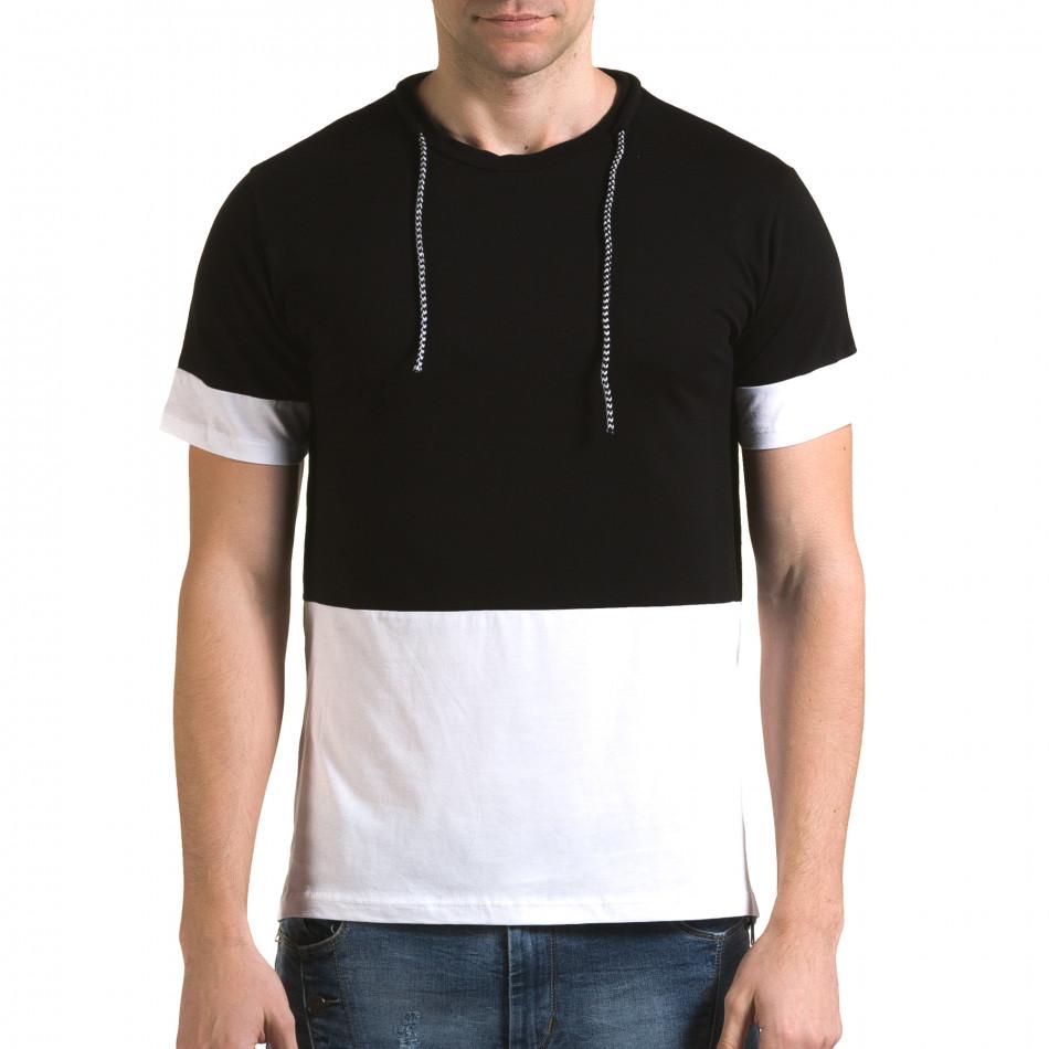 Мъжка черна тениска с бяла долна част it090216-69