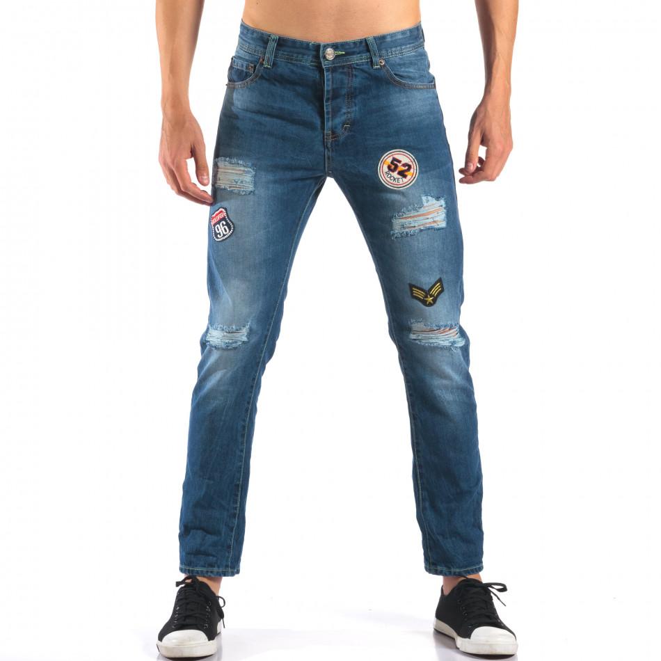 Мъжки дънки с емблеми и скъсвания it160616-28
