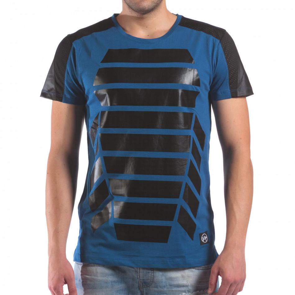 Мъжка синя тениска с геометричен принт il210616-21